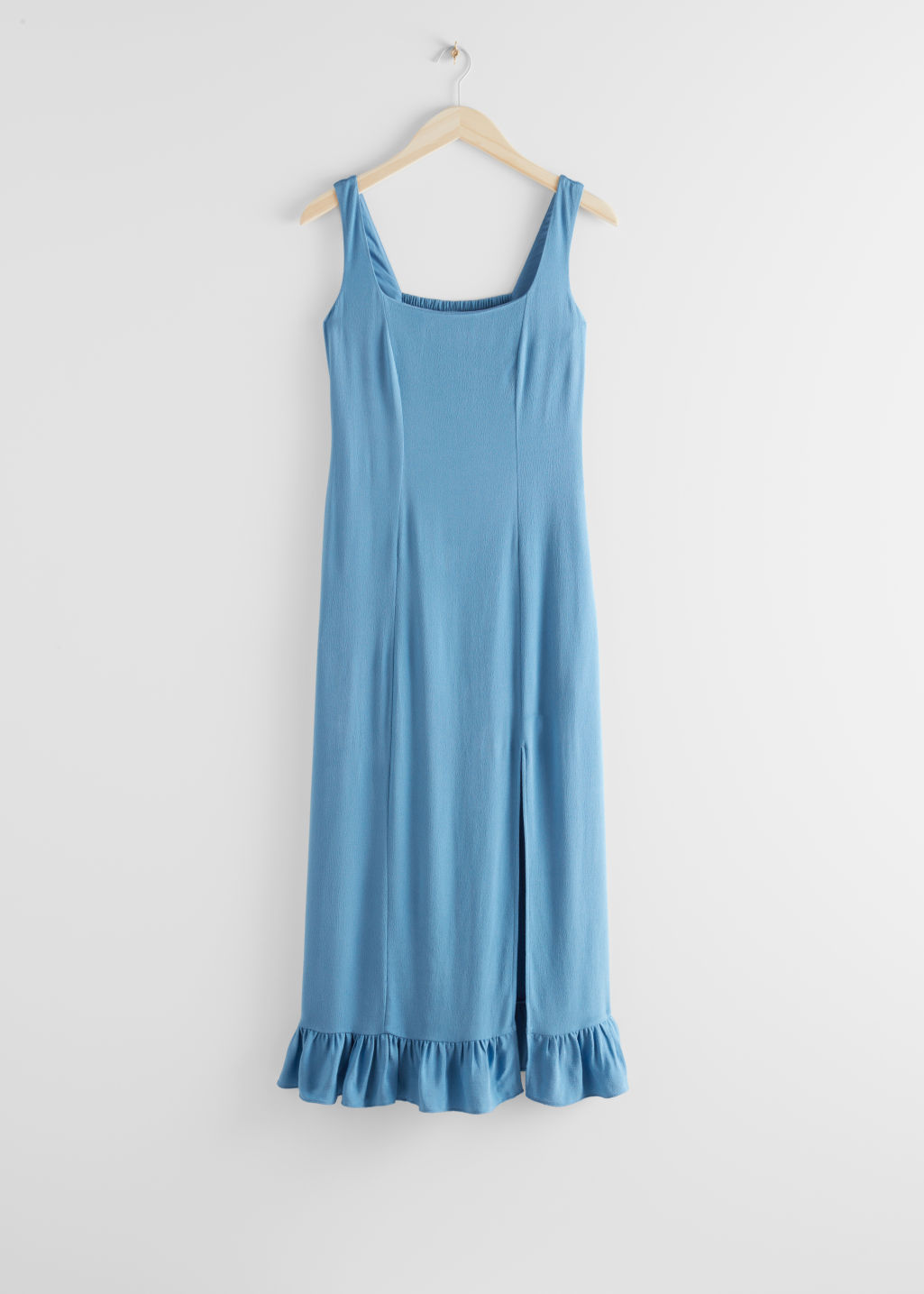 StillLife Front Image of Stories Ruffle Hem Midi Dress in Blue