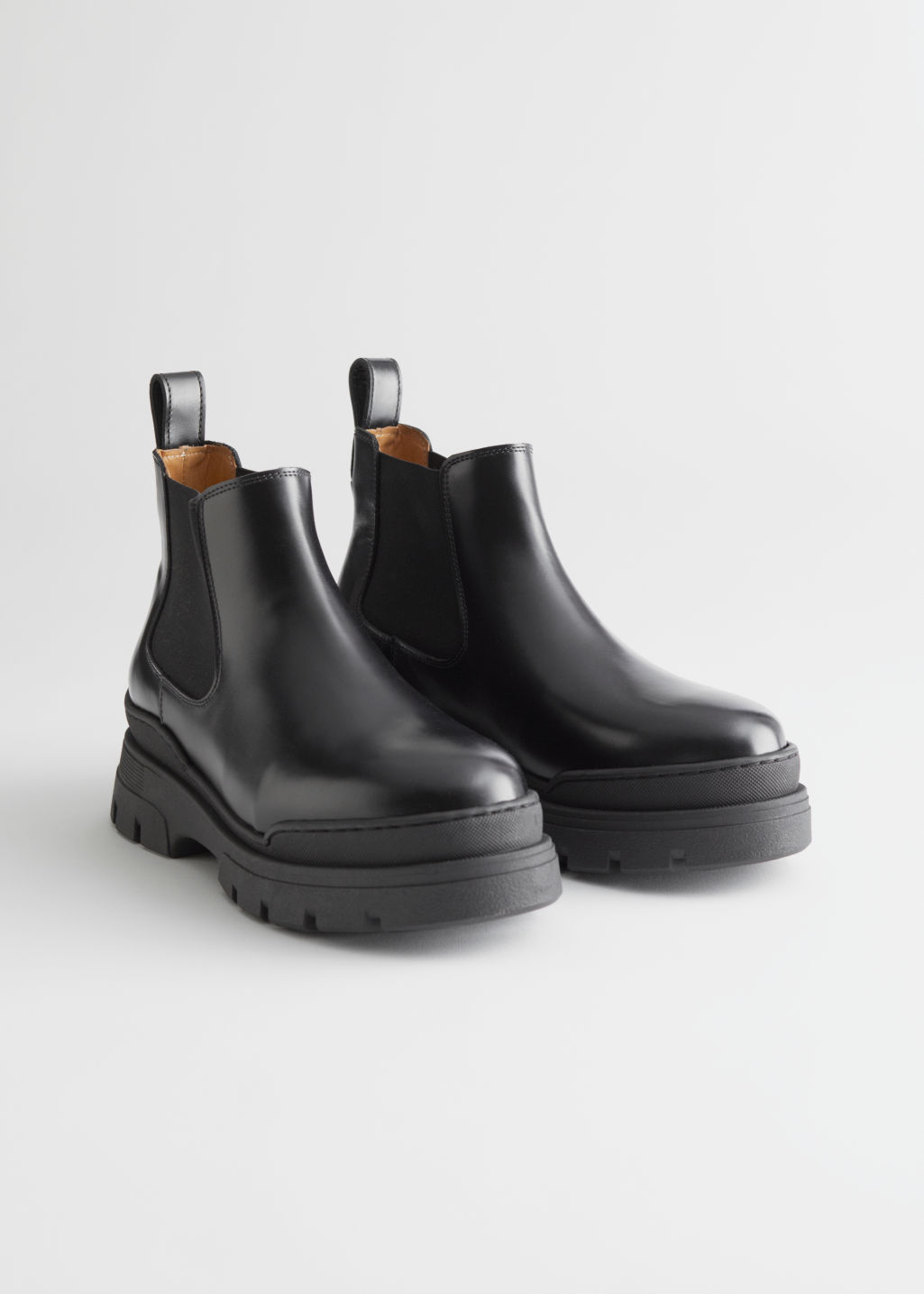 StillLife Front Image of Stories Chunky Leather Chelsea Boots in Black