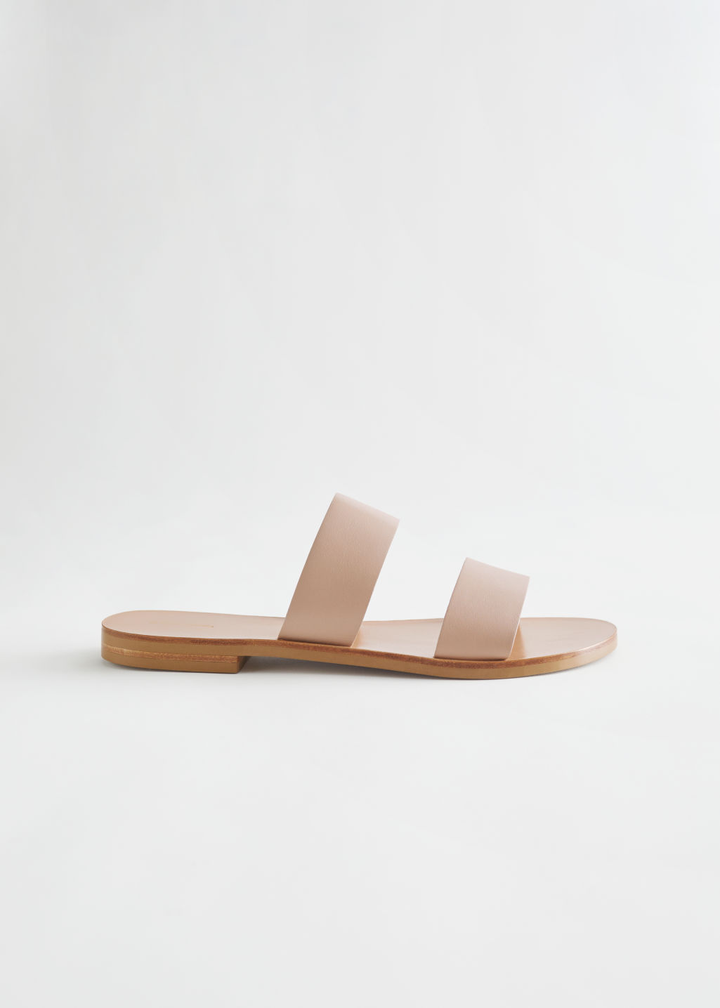 StillLife Front Image of Stories Duo Strap Leather Sandals in Beige