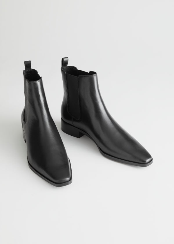 Square Toe Leather Chelsea Boots