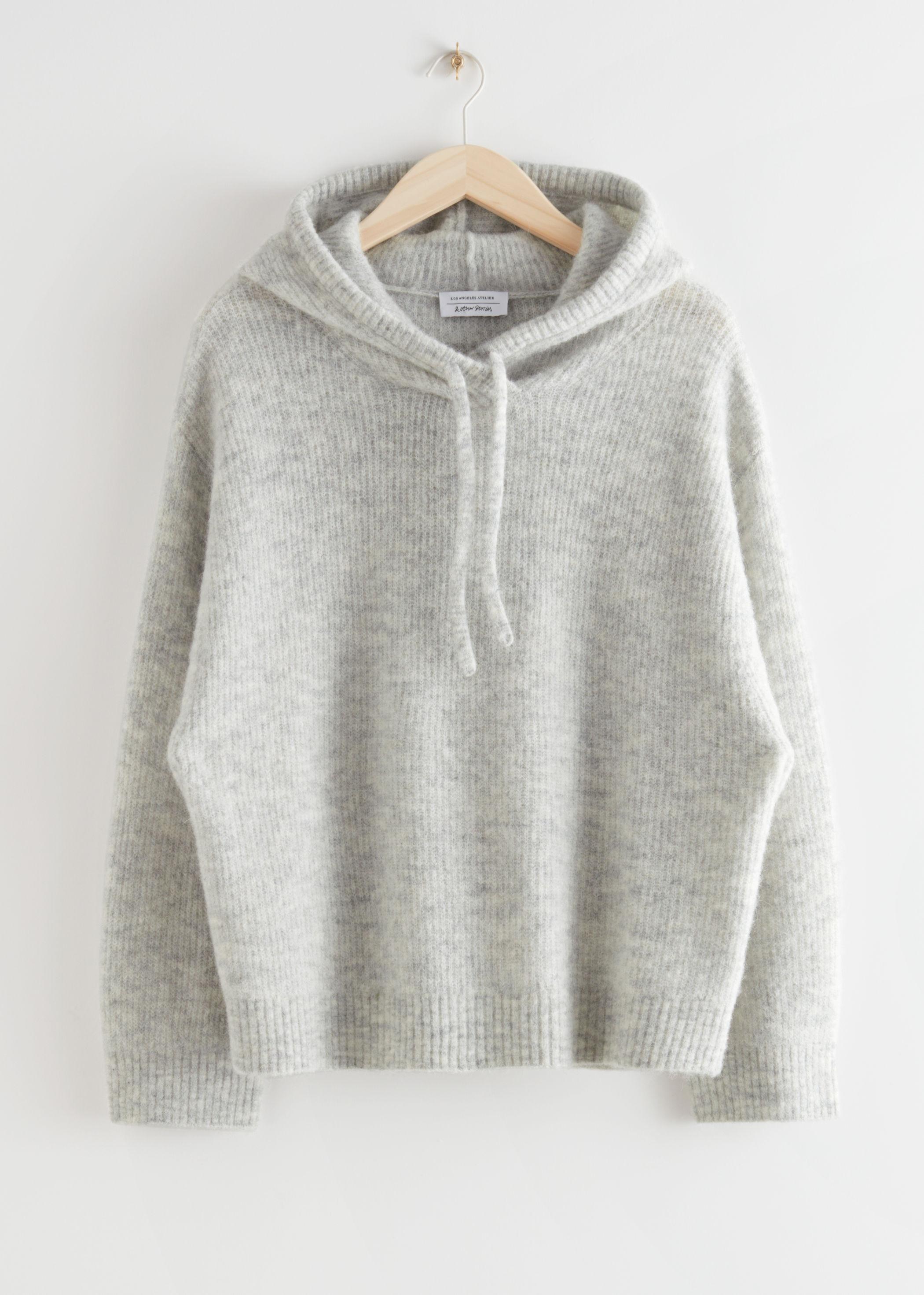 앤 아더 스토리즈 & OTHER STORIES Ribbed Wool Blend Hooded Sweatshirt,Grey