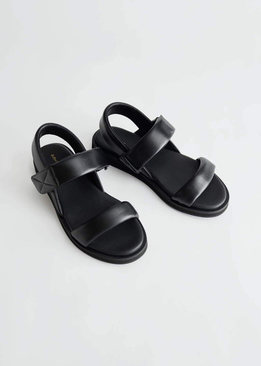 StillLife Front Image of Stories Padded Leather Slingback Sandals in Black
