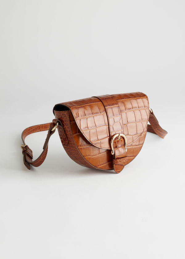 Croc Embossed Small Leather Bag
