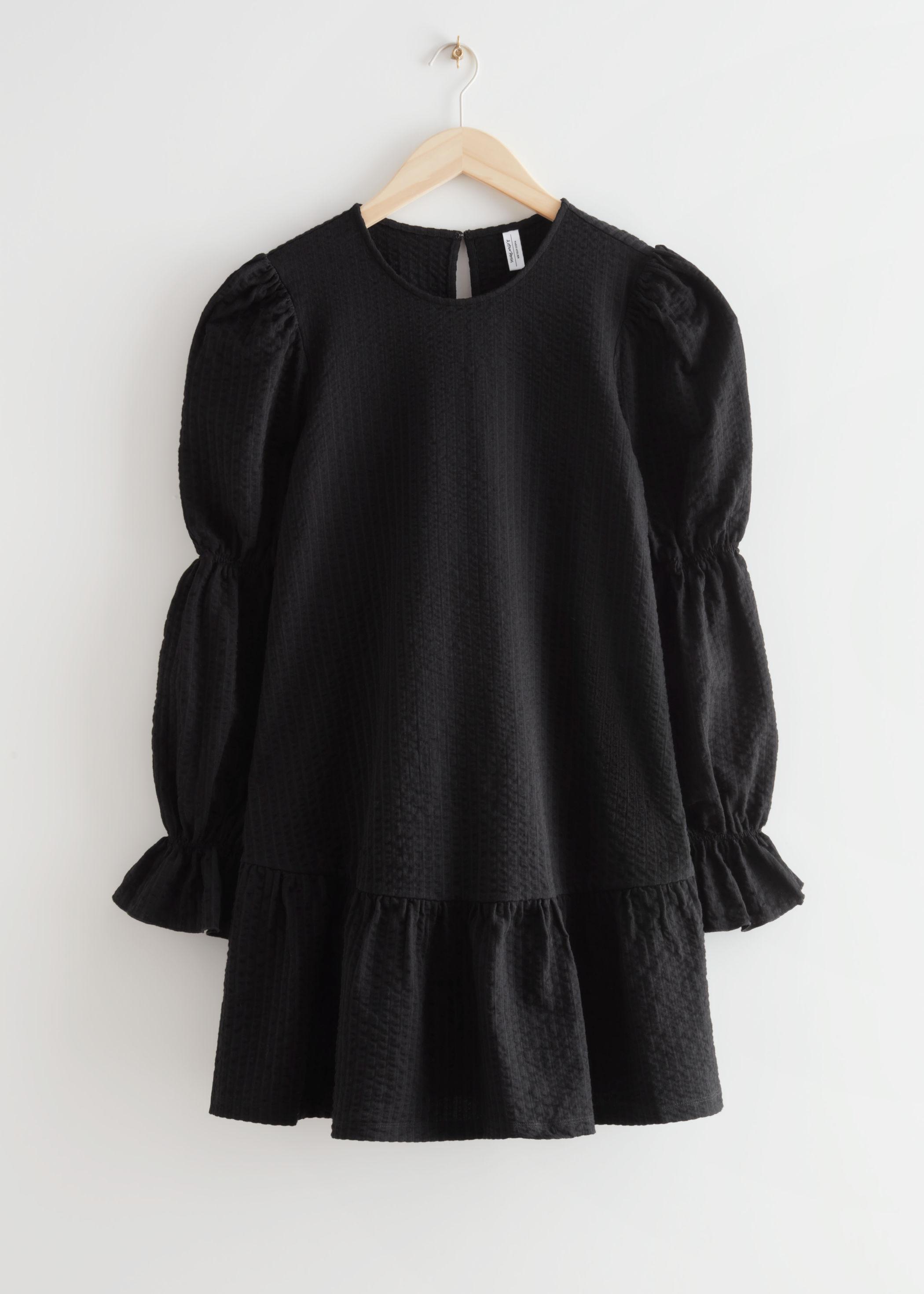 앤 아더 스토리즈 & OTHER STORIES Textured Tiered Mini Dress,Black