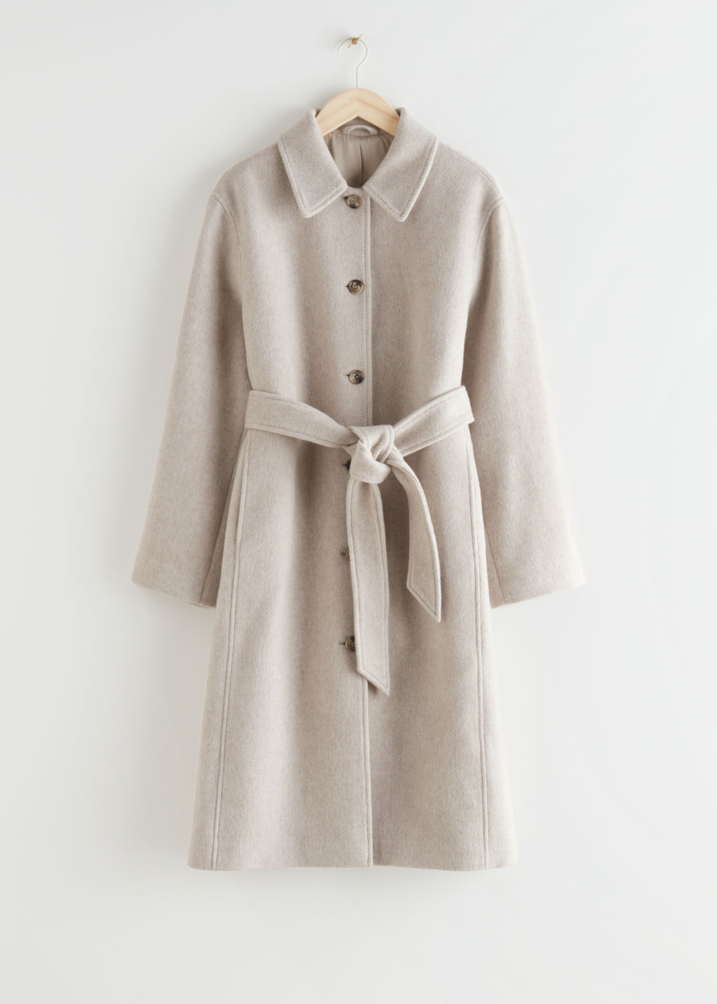 StillLife Front Image of Stories Voluminous Belted Single Breasted Coat in Beige
