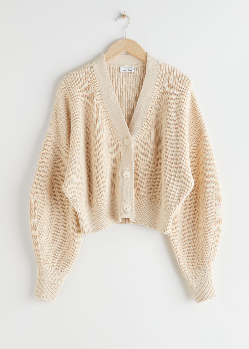 StillLife Front Image of Stories Cropped Cardigan in Beige