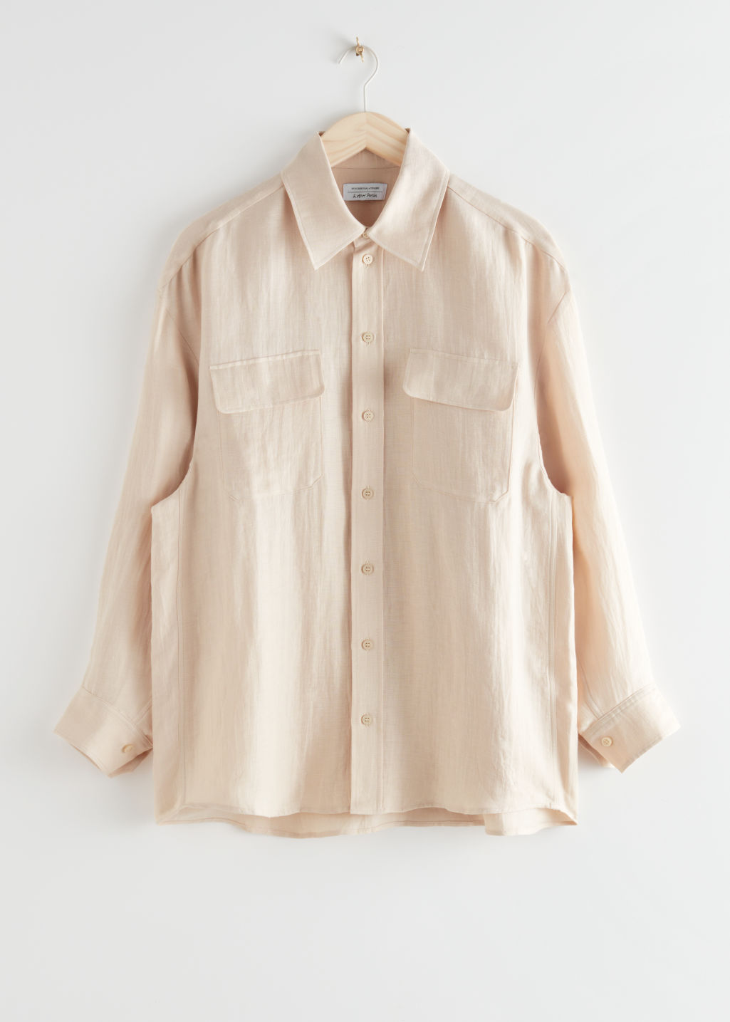 StillLife Front Image of Stories Oversized Linen Shirt in Beige