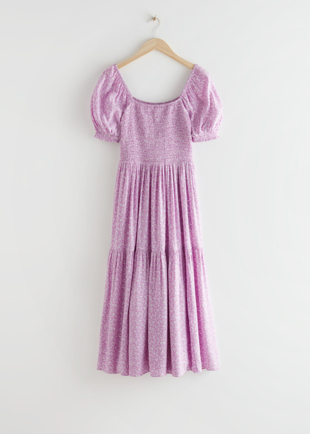 StillLife Front Image of Stories Puff Sleeve Smock Maxi Dress in Purple