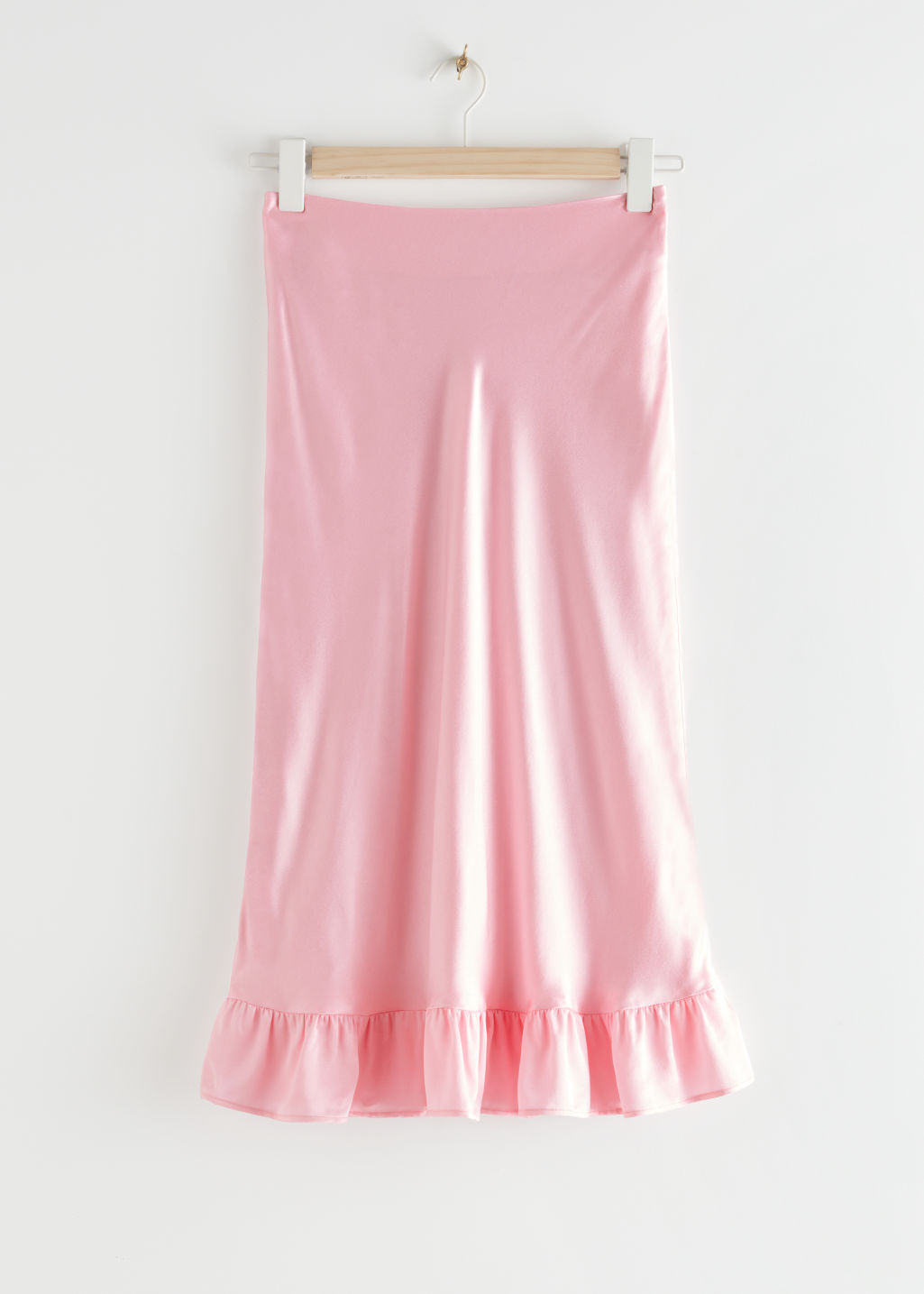 StillLife Front Image of Stories Ruffled Crepe Midi Skirt in Pink
