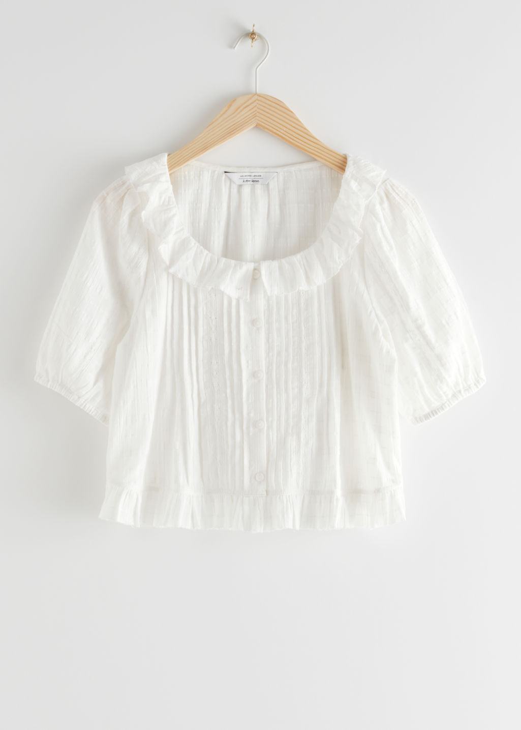 StillLife Front Image of Stories Scoop Neck Ruffle Top in White