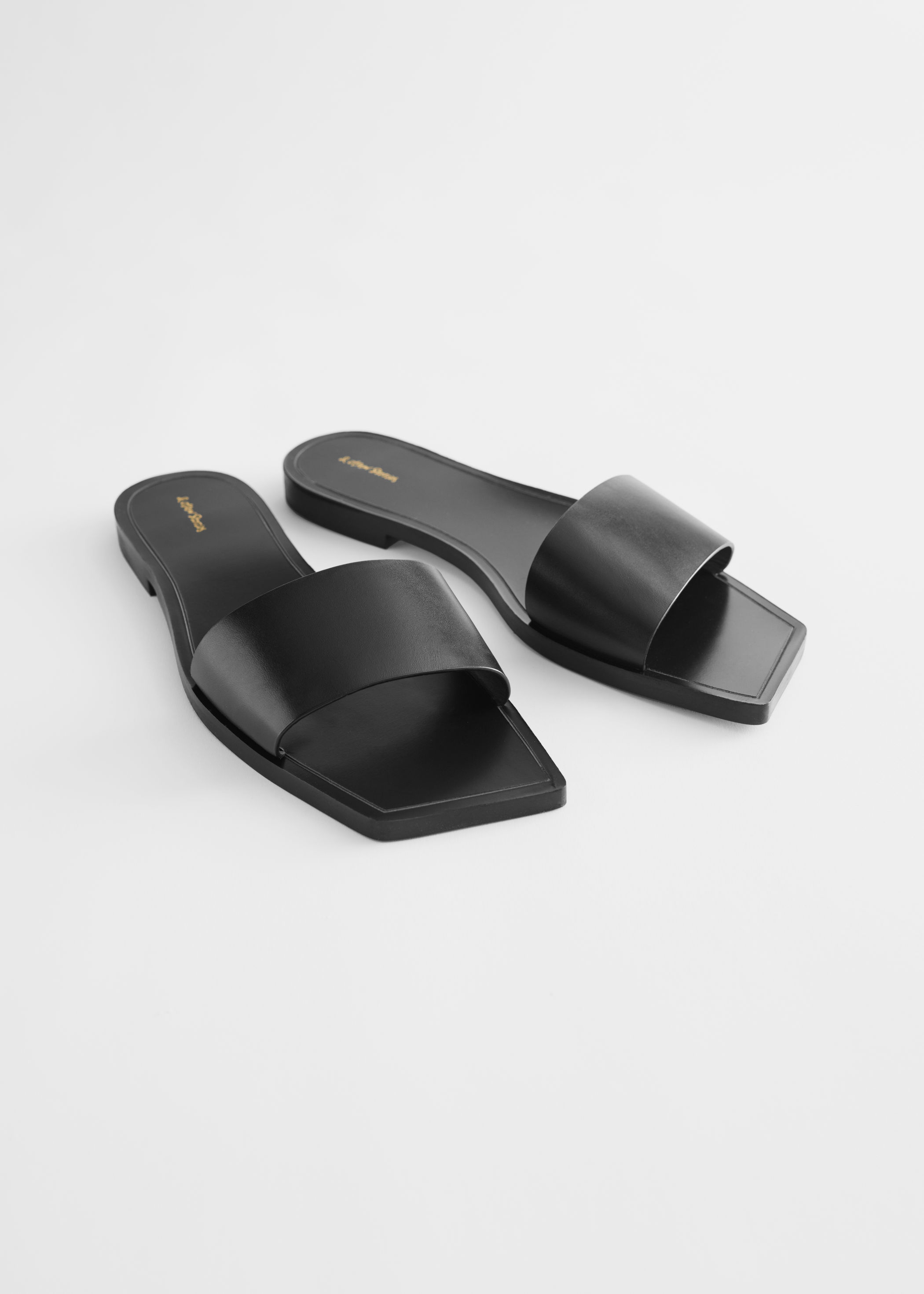 & other stories  Leather Square Toe Slip On Sandals