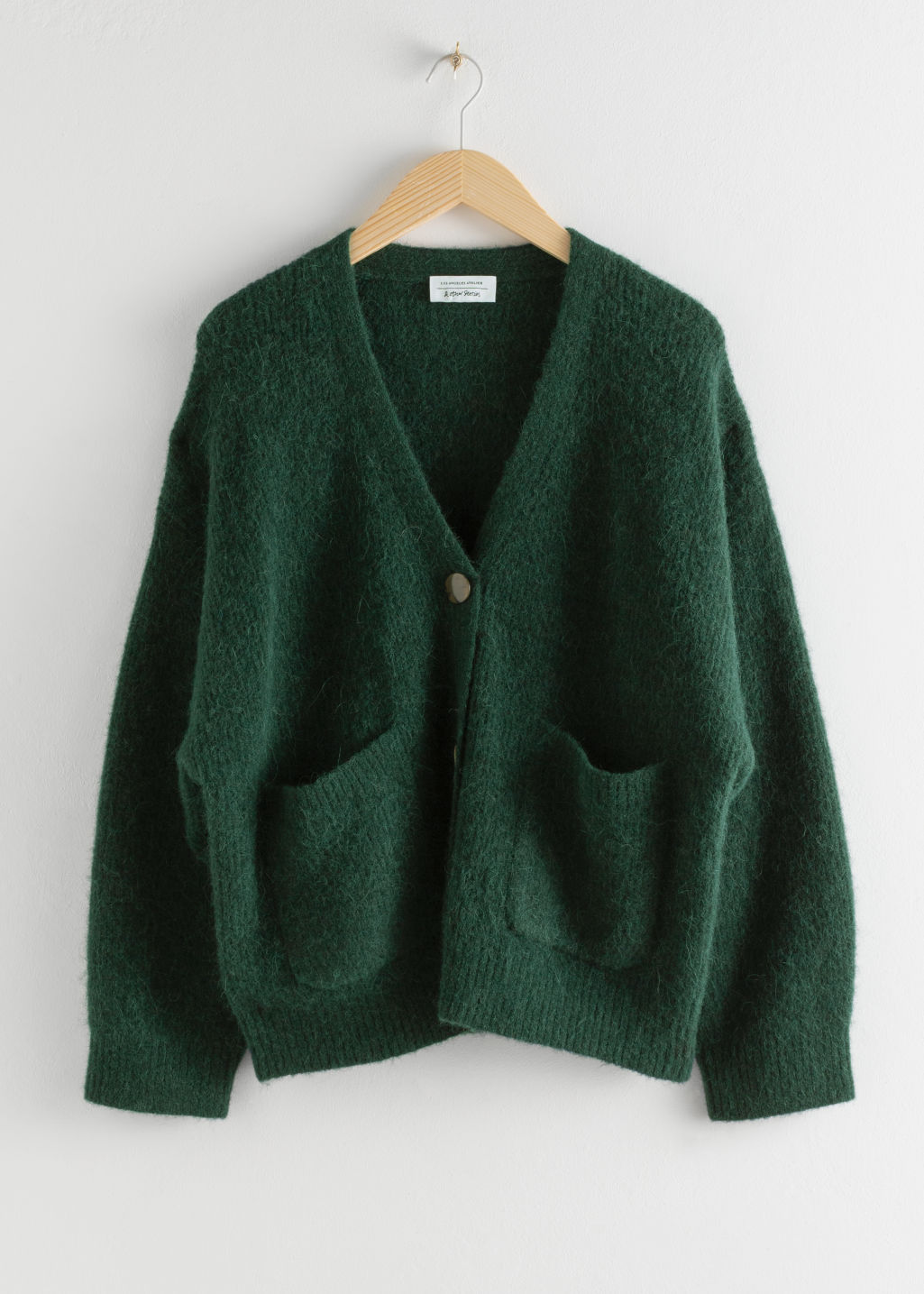 StillLife Front Image of Stories Alpaca Wool Blend Cardigan in Green