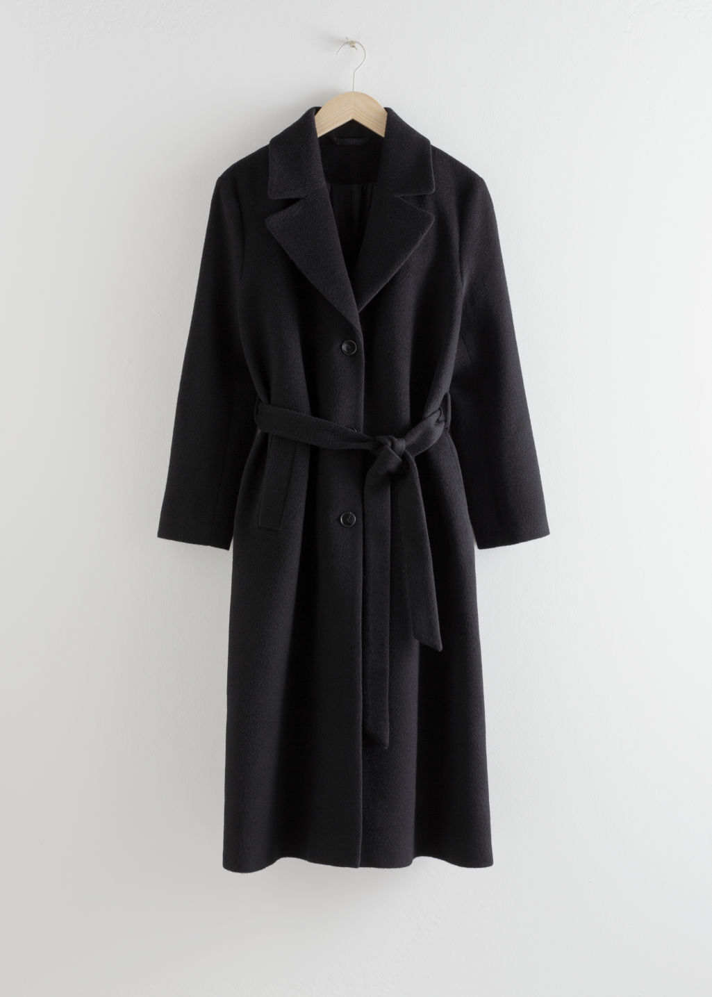 StillLife Front Image of Stories Oversized Alpaca Blend Coat in Black
