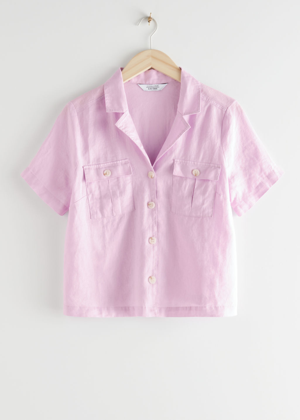 StillLife Front Image of Stories Linen Blend Button Up Shirt in Purple