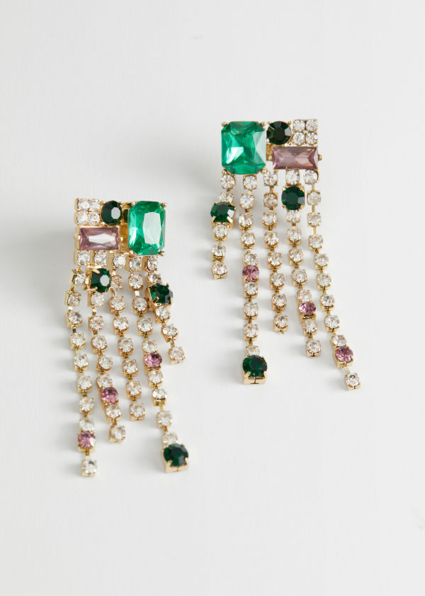 Dangling Rhinestone Gem Earrings