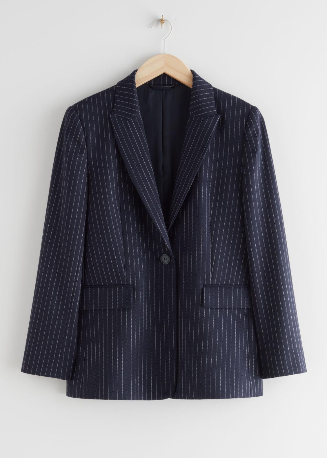앤 아더 스토리즈 블레이저 셋업 자켓 & OTHER STORIES Single Button Blazer Jacket,Blue Pinstripe