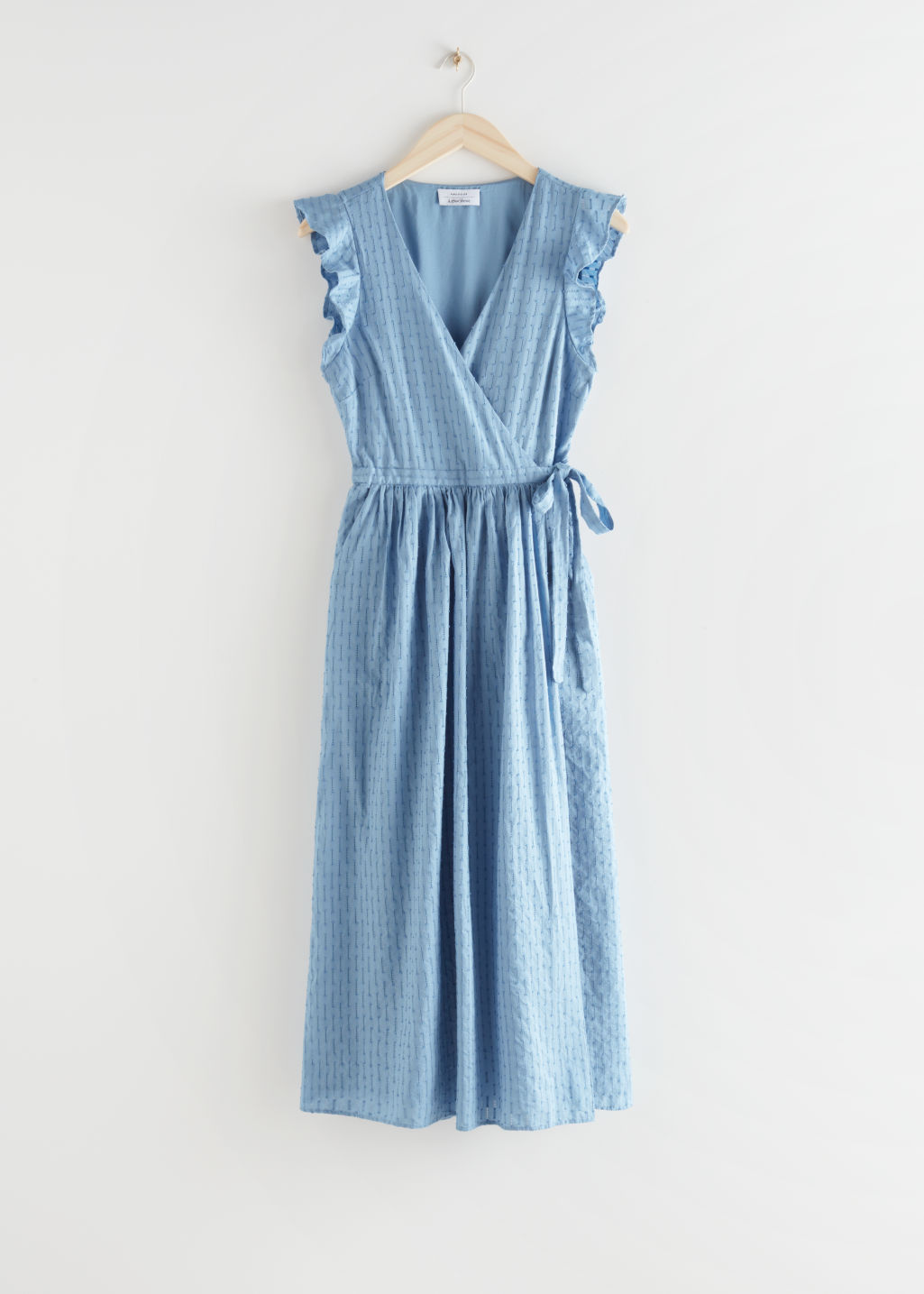 StillLife Front Image of Stories Ruffled Cotton Dobby Midi Dress in Blue
