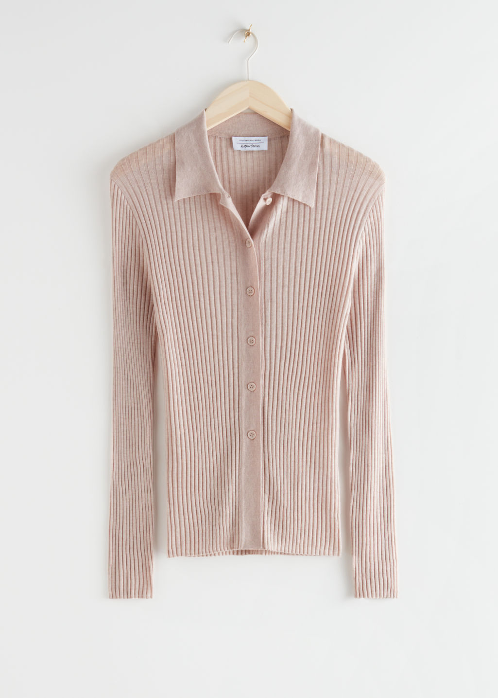 StillLife Front Image of Stories Fitted Ribbed Knit Cardigan in Beige