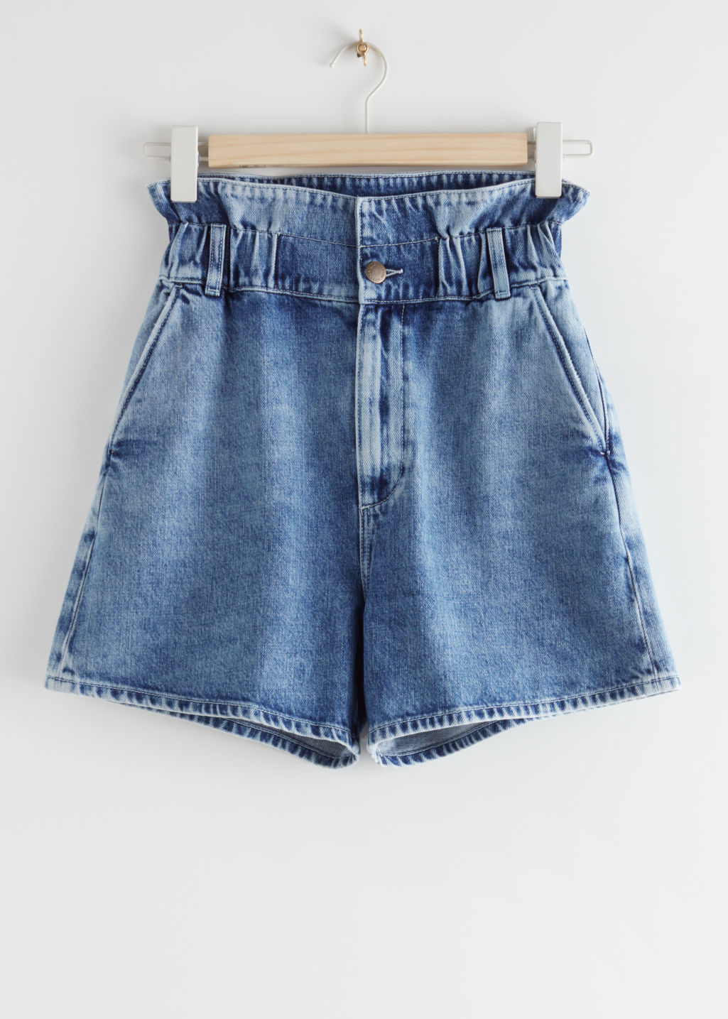 StillLife Front Image of Stories Paperbag Waist Jeans Shorts in Blue
