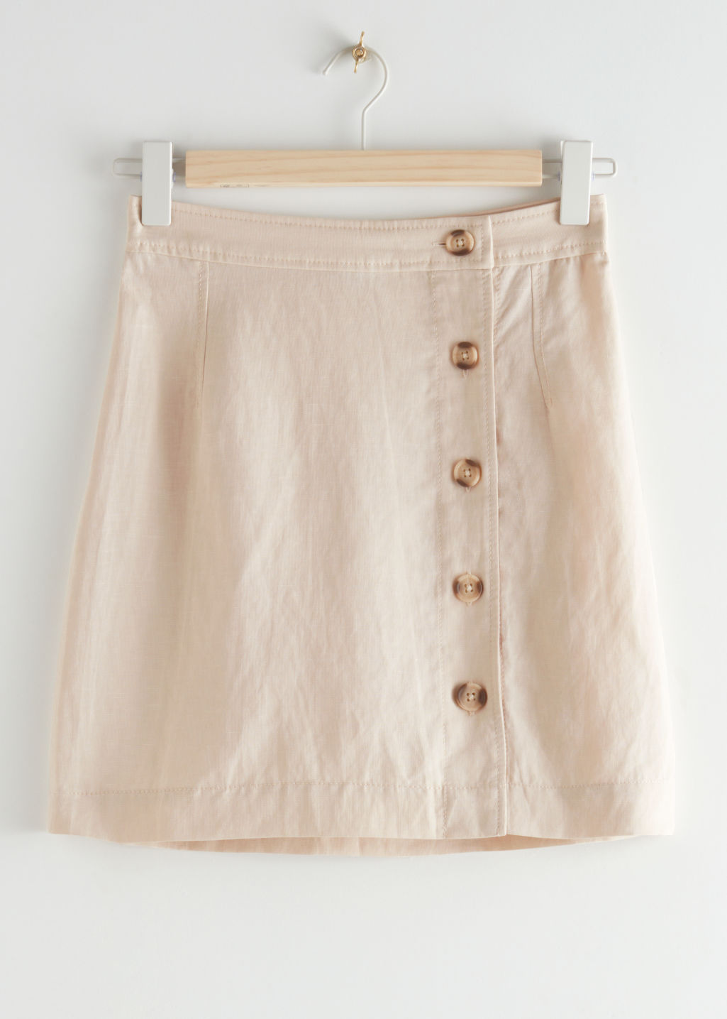 StillLife Front Image of Stories Front Button Mini Skirt in Beige