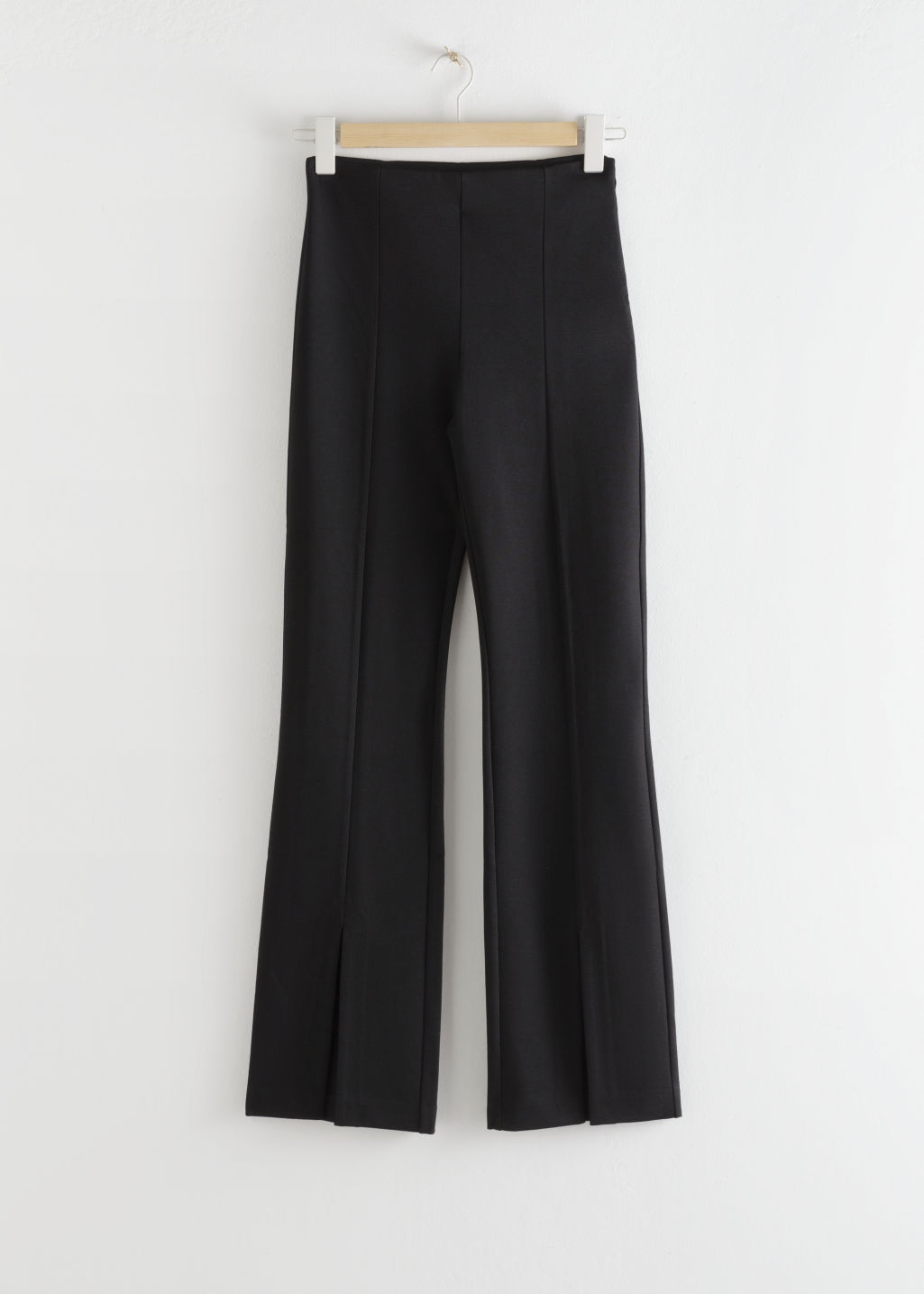 StillLife Front Image of Stories Front Split Tapered Trousers in Black