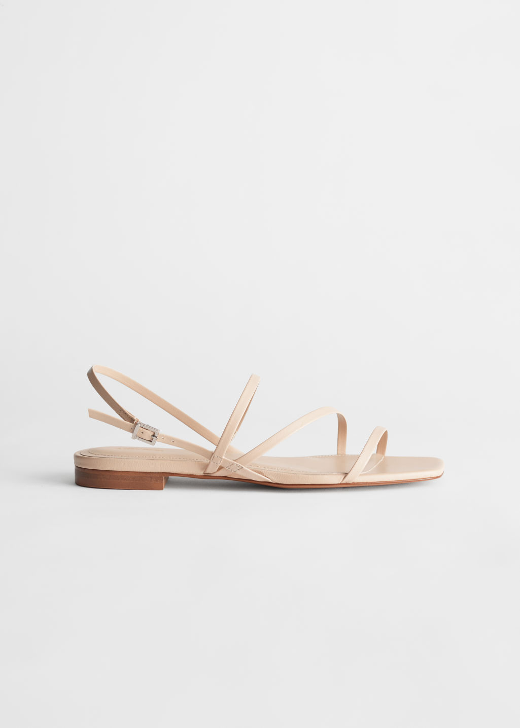 StillLife Left Image of Stories Strappy Leather Slingback Sandals in White