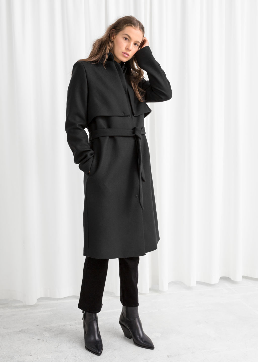 Model front image of Stories wool trenchcoat in black