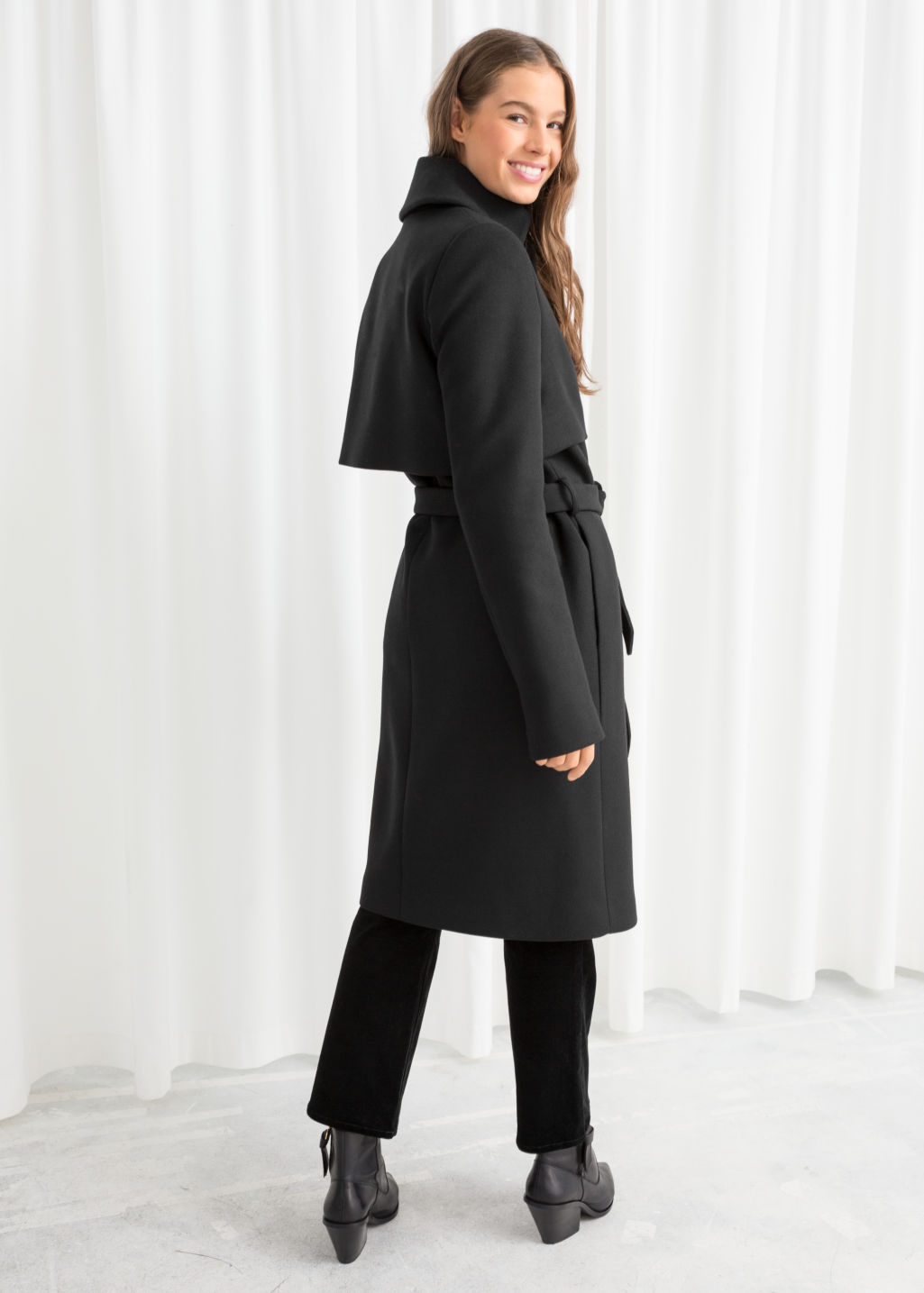 Model back image of Stories wool trenchcoat in black
