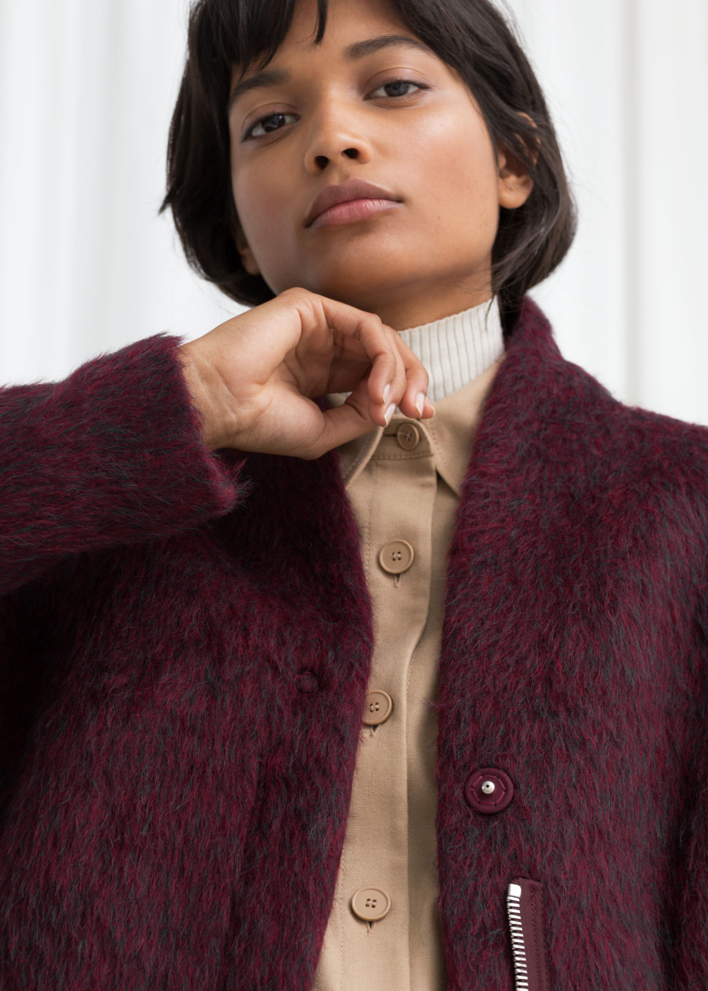 Model front image of Stories wool-blend coat in red