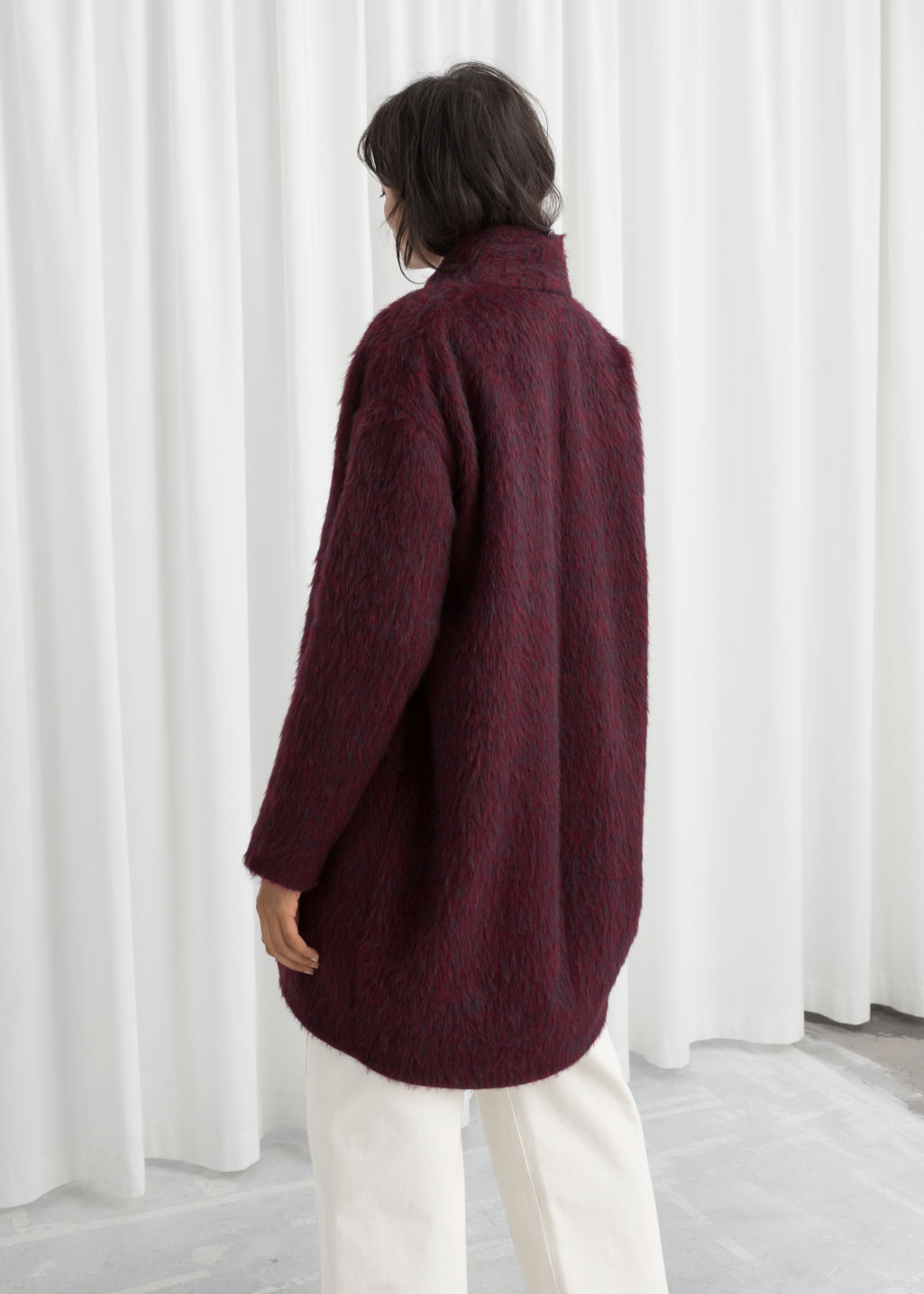 Model back image of Stories wool blend coat in red
