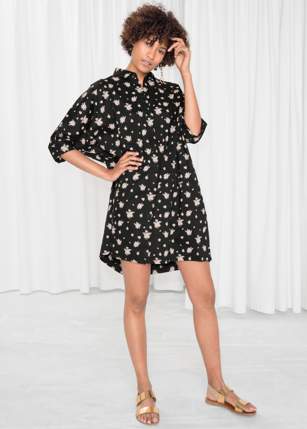 Model front image of Stories cotton shirt dress in black