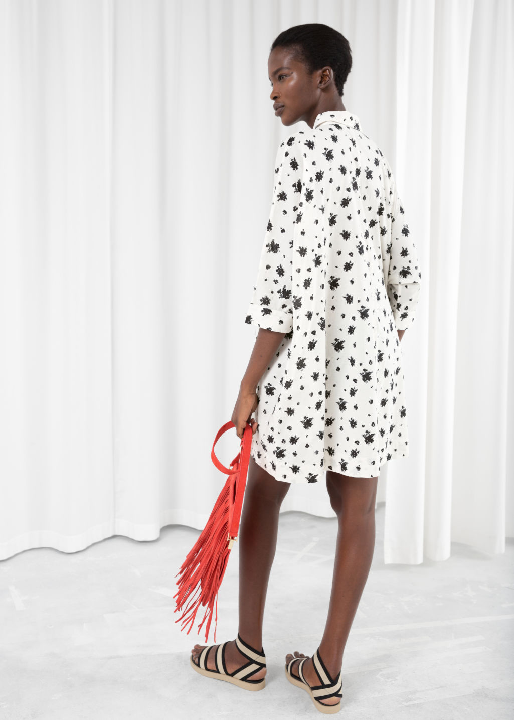 Model back image of Stories cotton shirt dress in white