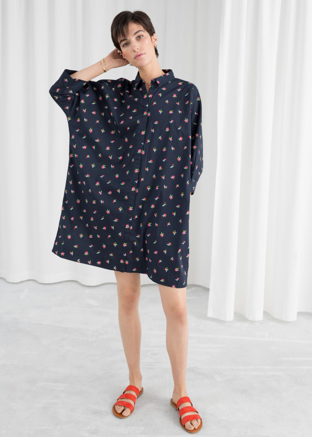 Model front image of Stories cotton shirt dress in blue
