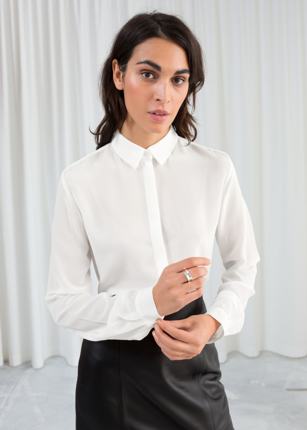 Model front image of Stories straight fit silk shirt in white