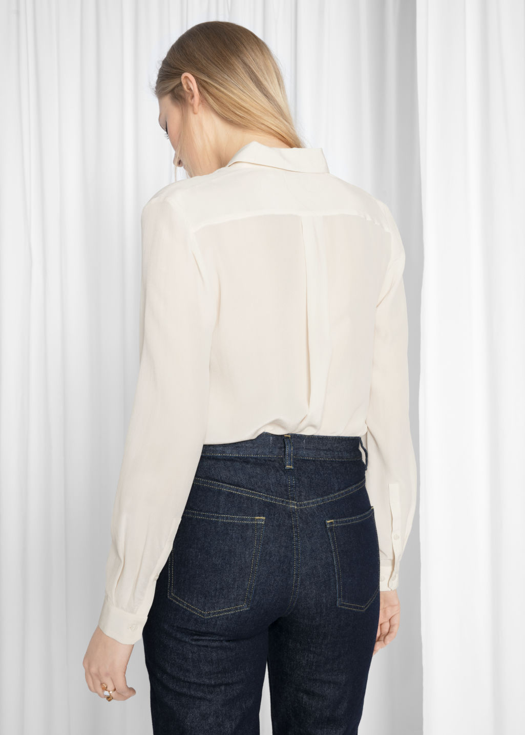 Model back image of Stories straight fit silk shirt in beige