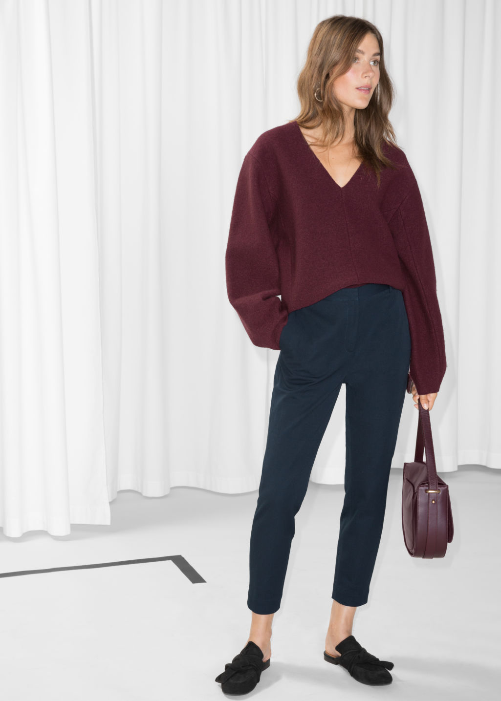 Model front image of Stories tailored trousers in blue