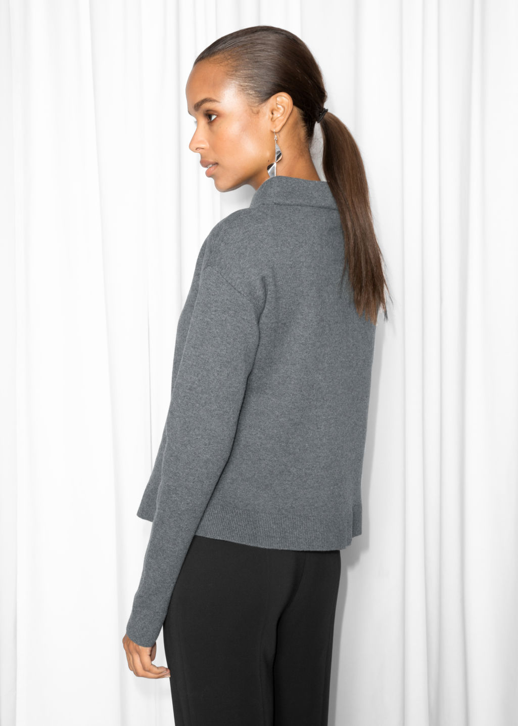 Model back image of Stories wide collar sweater in grey