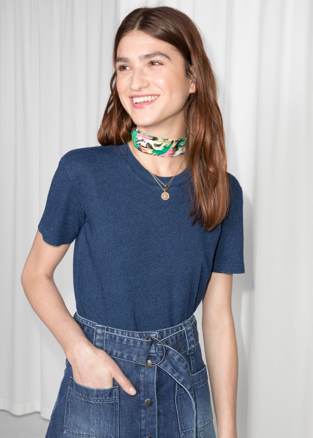 Model front image of Stories cotton t-shirt in blue