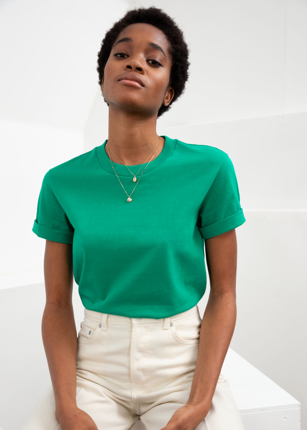Model front image of Stories cotton t-shirt in green