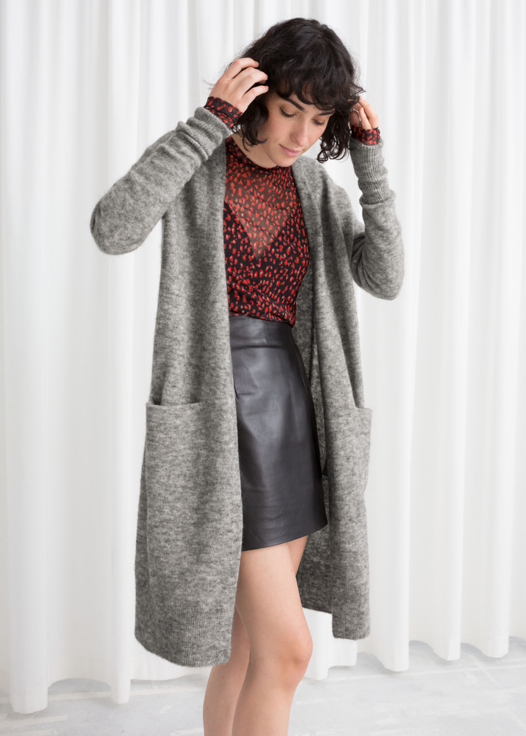 Model front image of Stories long mohair-blend cardigan in grey