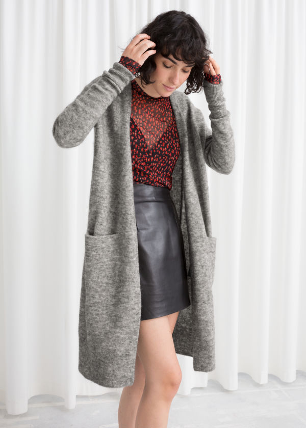 Long Wool Blend Cardigan