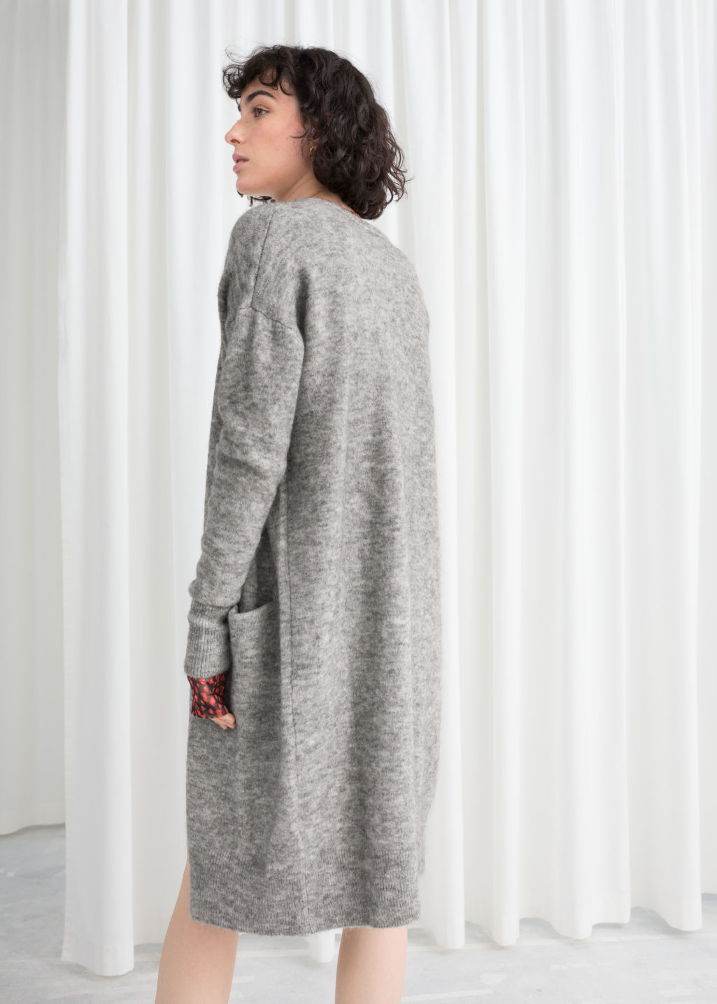 Model back image of Stories long wool blend cardigan in grey