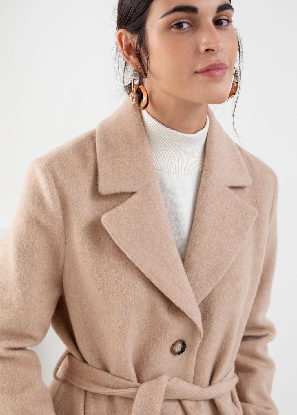 Model front image of Stories oversized alpaca blend coat in beige