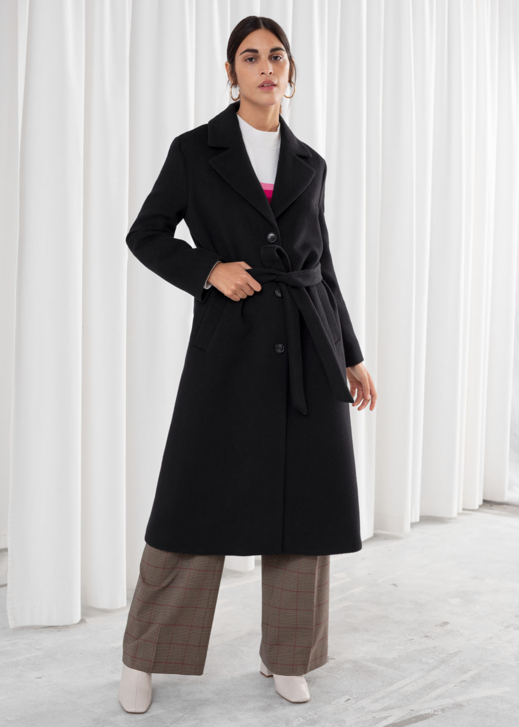 Model front image of Stories loose alpaca blend coat in black