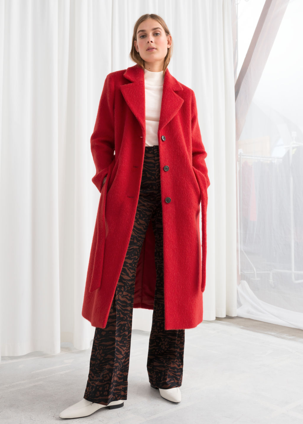 Model front image of Stories oversized alpaca blend coat in red