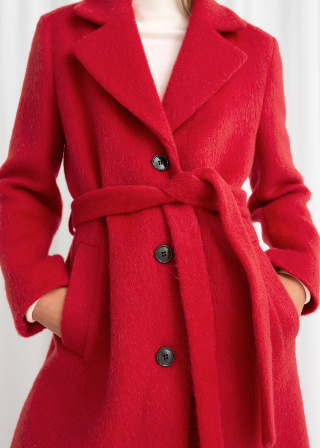 Model back image of Stories oversized alpaca blend coat in red