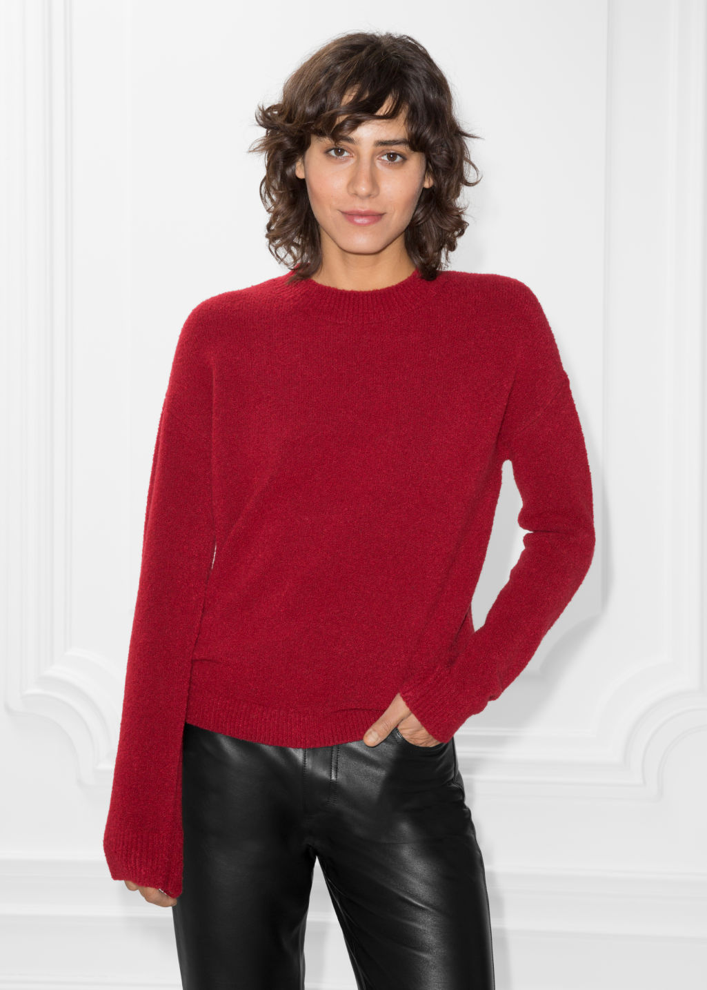 Model front image of Stories knit sweater in red