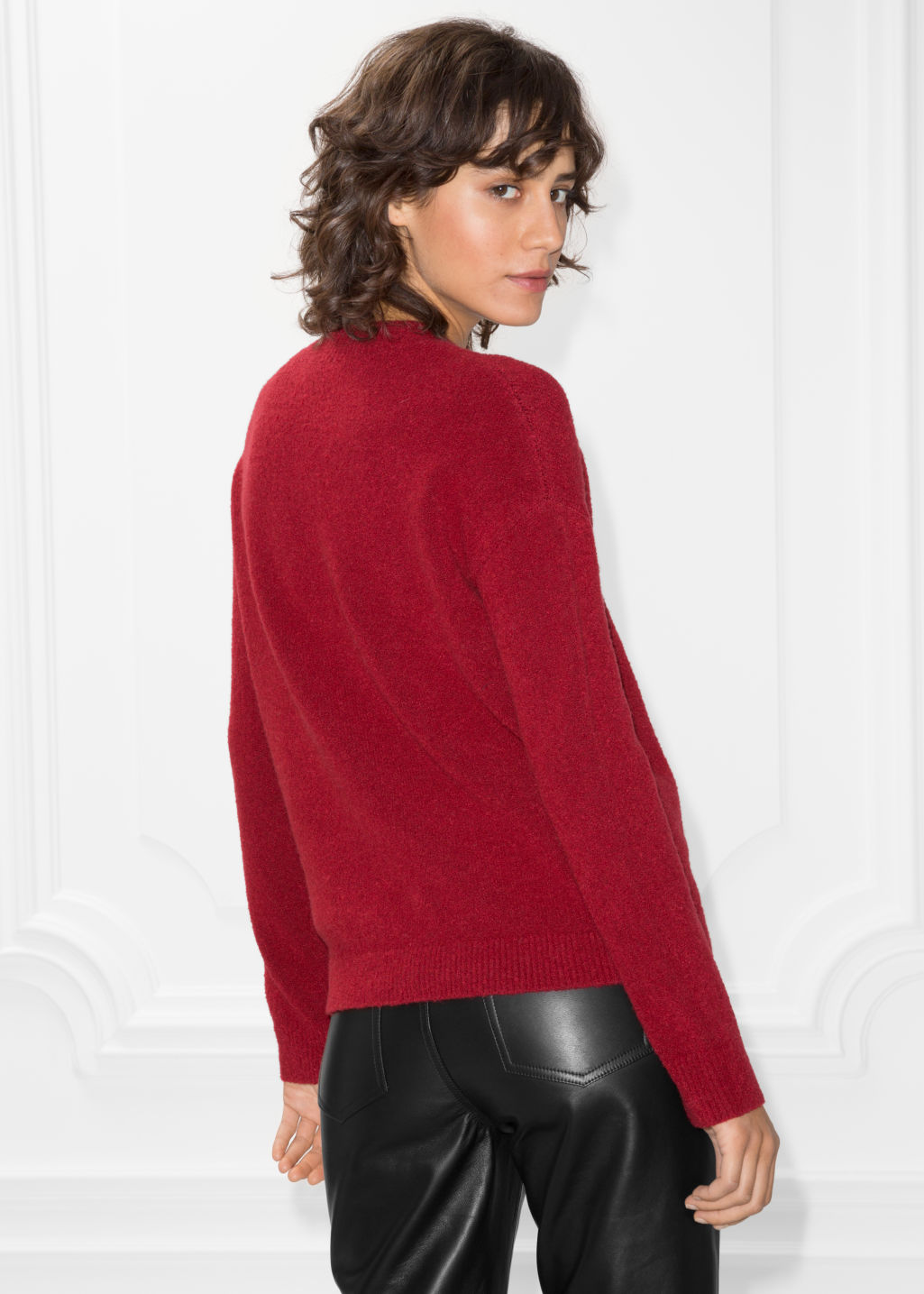 Model back image of Stories knit sweater in red