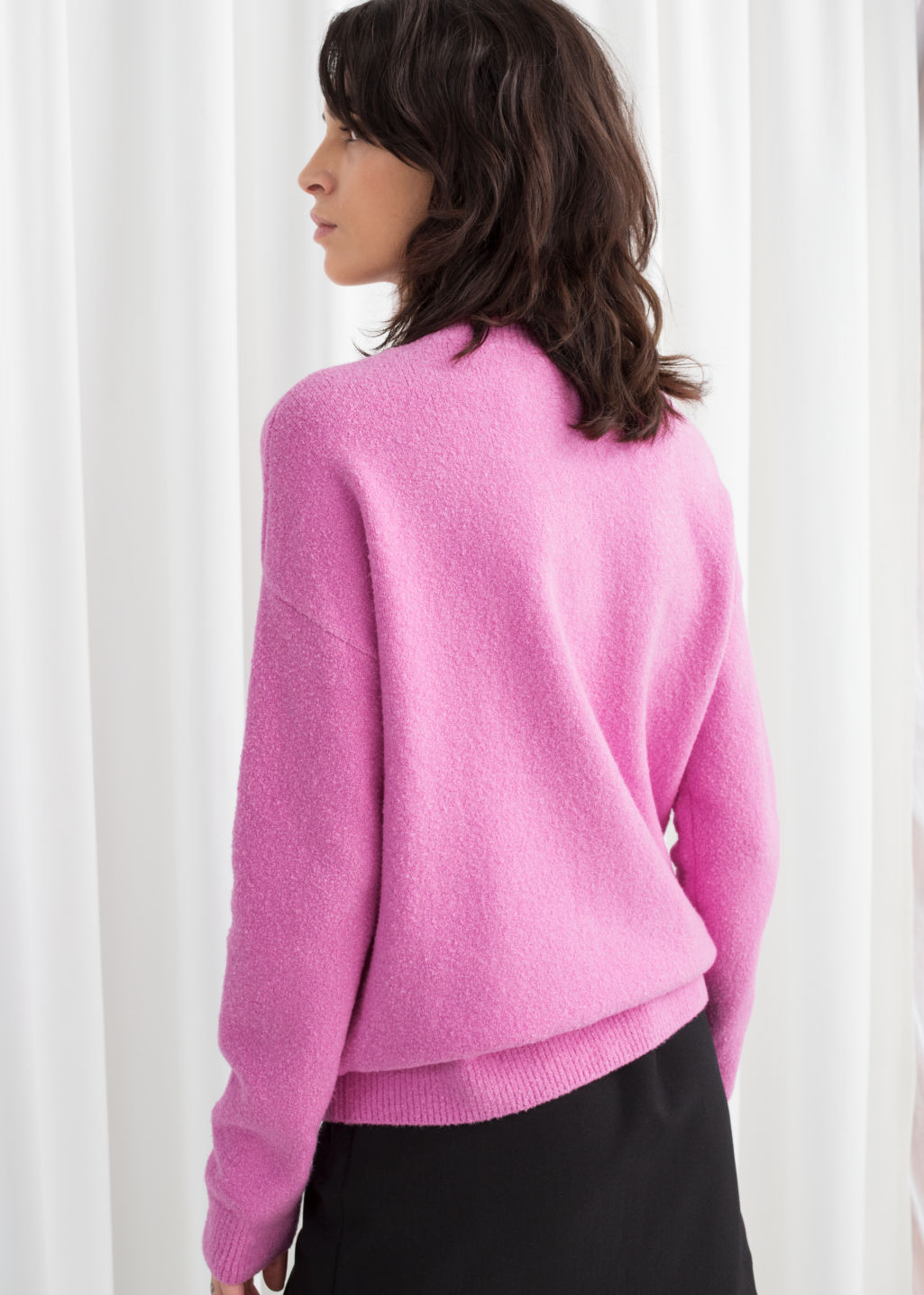 Model back image of Stories cotton blend sweater in pink