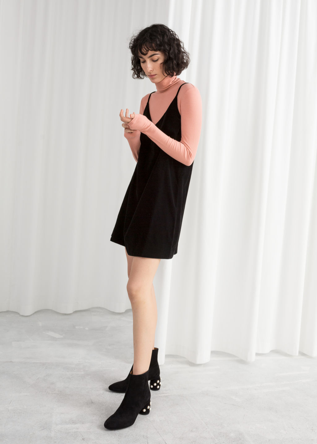 Model front image of Stories strap velvet dress  in black